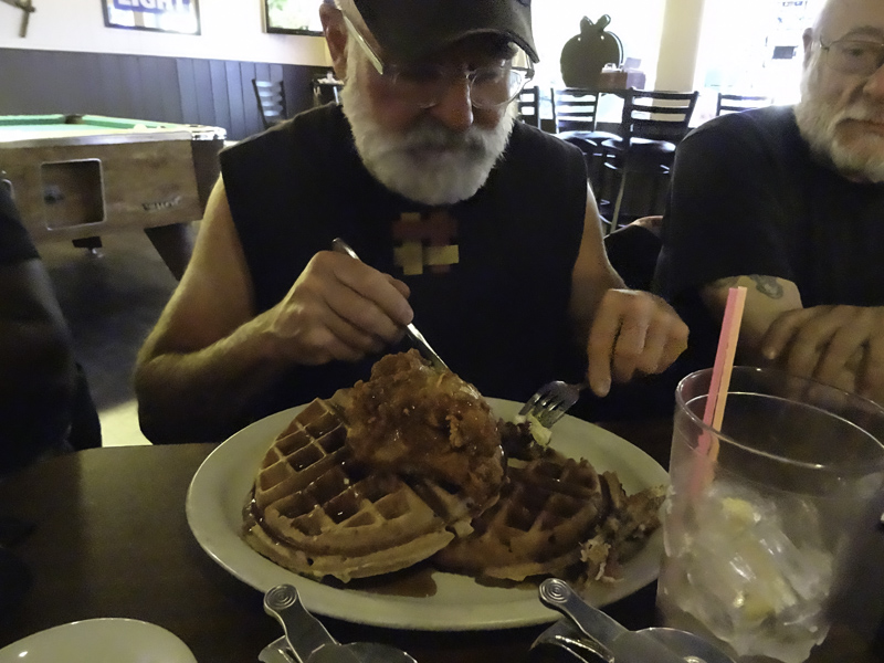 Kettle Falls is not exactly a hot spot for restaurants. We found one place that served just one thing... chicken and waffles. Yeah, the only difference in menu items were the proportion size. Here, Jeff enjoys a big manly size plate.