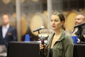 Jasmine Hirsch welcomes guests to the February IPOB tasting at San Francisco's Bluxome Street Winery.