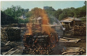 Burning Charcoal at Jack Daniels, courtesy Boston Public Library, Flickr