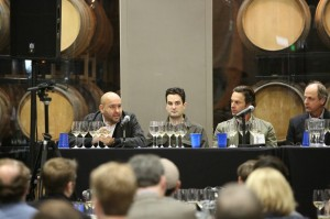 "Members of the ""Relevance and Purpose in California Chardonnay"" at the February IPOB tasting include, from left, Rajat Parr, winemaker, Sanhi Vineyards; Gavin Chanin, winemaker, Chanin Wine Company; Matt Licklider, proprietor, LIOCO; and Bob Varner, winemaker, Varner Wine."