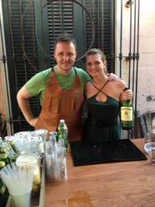 Sean Muldoon and the lovely Brooke in the sweaty, but fun Irish Whiskey House/Dead Rabbit popup at Cane and Table