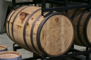 Rye aging in signed barrel at NY Distilling
