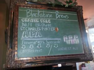 Blackstone Brew list - photo by Cynthia Mayes