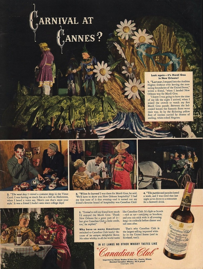 Canadian Club, 1942 – another fine example of breweries utilizing Mardi Gras imagery.