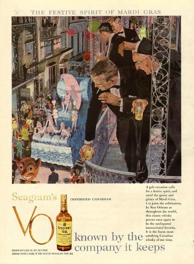 Seagrams VO, 1959 – another Canadian Whiskey ad with a Mardi Gras theme
