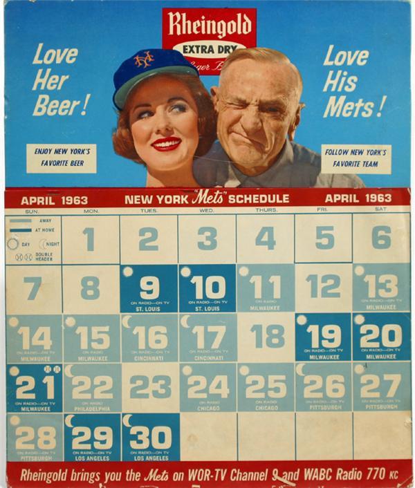 "Rheingold's 1963 New York Mets Calendar, featuring Casey Stengel and ""Miss Rheingold""."