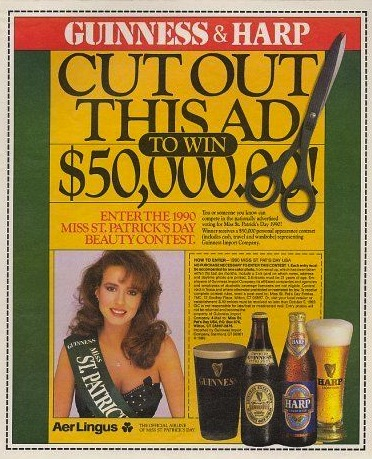 """One of Guinness/Harp's infamous late-'80s """"Miss St. Pat's"""" ads."""