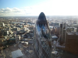 View of London from private dining room of Duck and Waffle, with The Gherkin in the foreground
