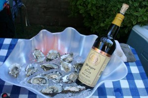 Prager Aria white Port and oysters - hello, summer! Ctsy Prager Winery