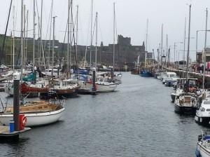 Peel Castle and quayside near the Creek Inn pub