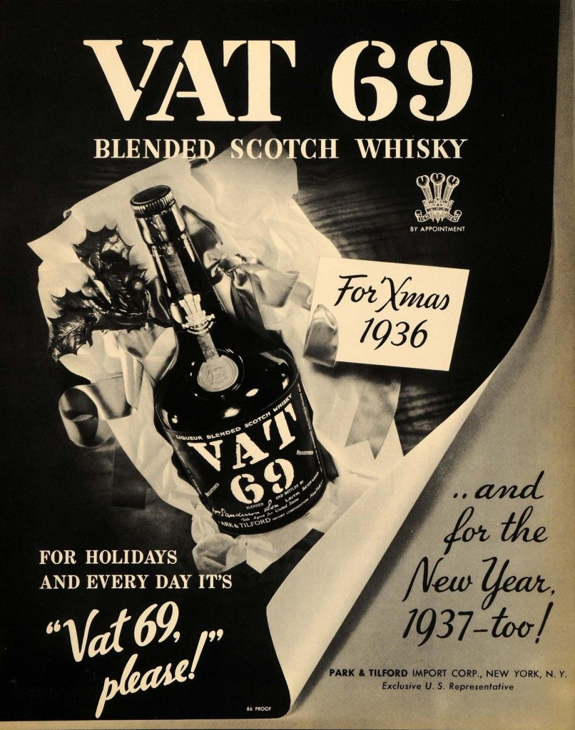 Vat 69's 1936 ad, covering both Xmas and New Year's in one fell swoop