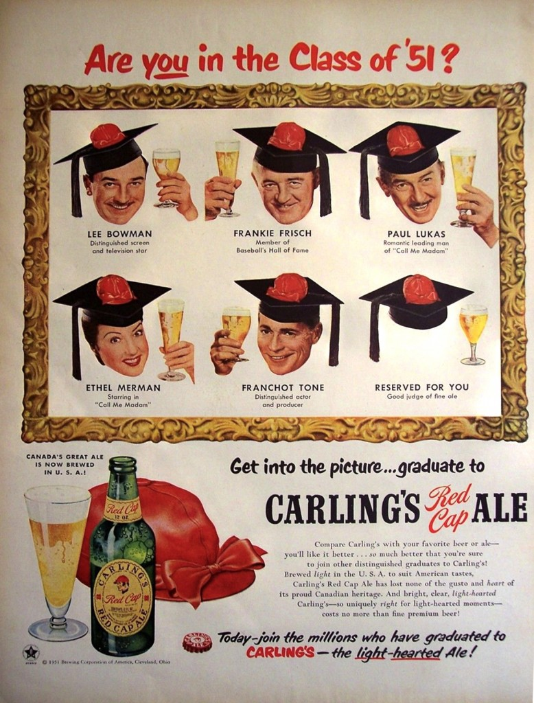 An all-star line-up promotes Carling's Red Cap Ale, 1951