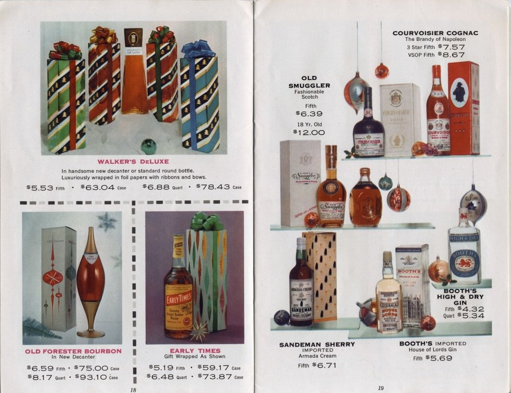 two-page spread from the 1957 Dunhall Wines catalog (store located at Irving Place and 19th Street, New York City)
