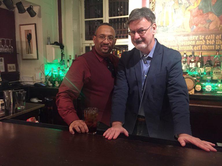 the author with bartender Eddie Castillo