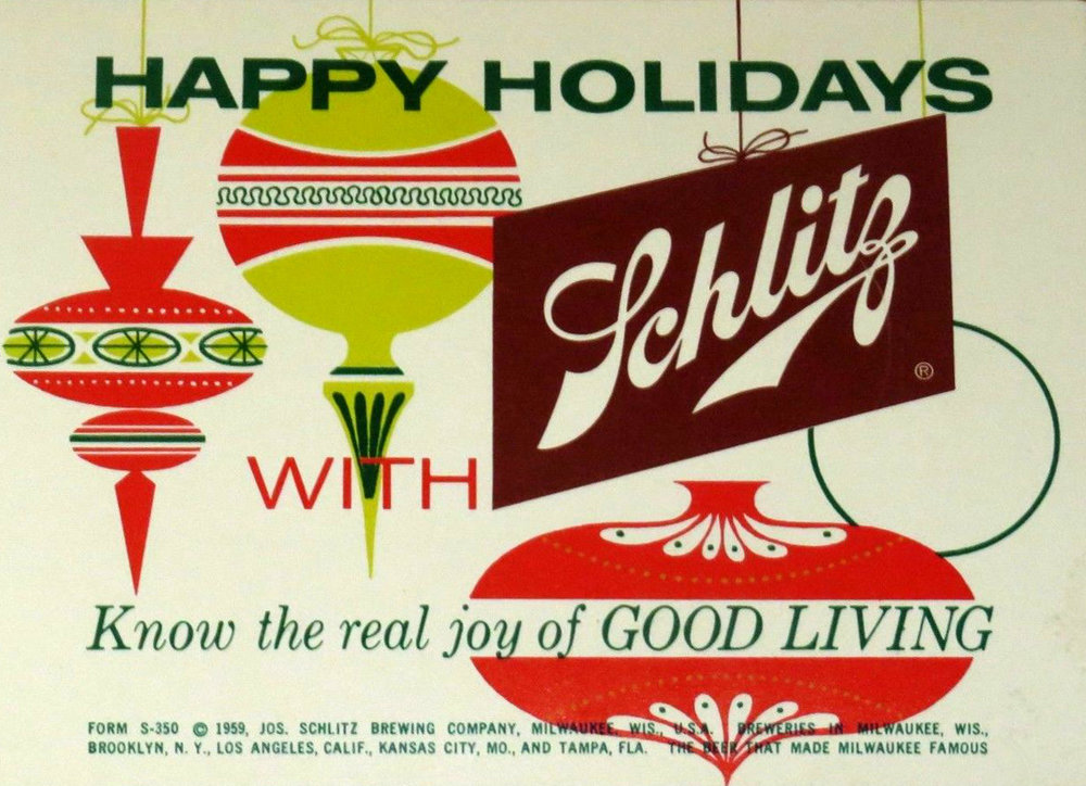 Schlitz promotional sign, 1959
