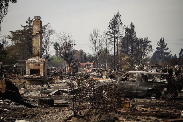 burned down residence in Santa Rosa, photo CA National Guard