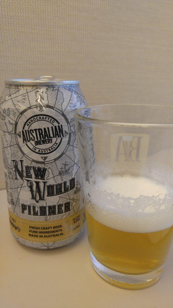 Australian Brewery New World Pilsner, photo by Phil Galewitz