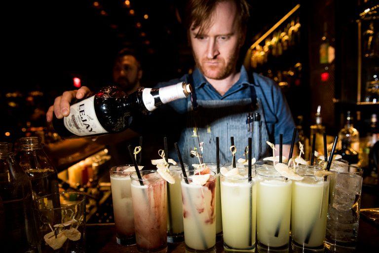 bartender Nicholas Bennett makes Jalapeño Infused El Diablos, photo by Gabi Porter