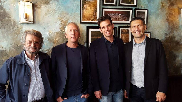 Judean Hills winemakers (L-R): Eli Ben Zaken (Castell); Doron Rav (Sphera); Eran Pick MW (Tzora); Golan Flam (Flam), photo by Robin Goldsmith