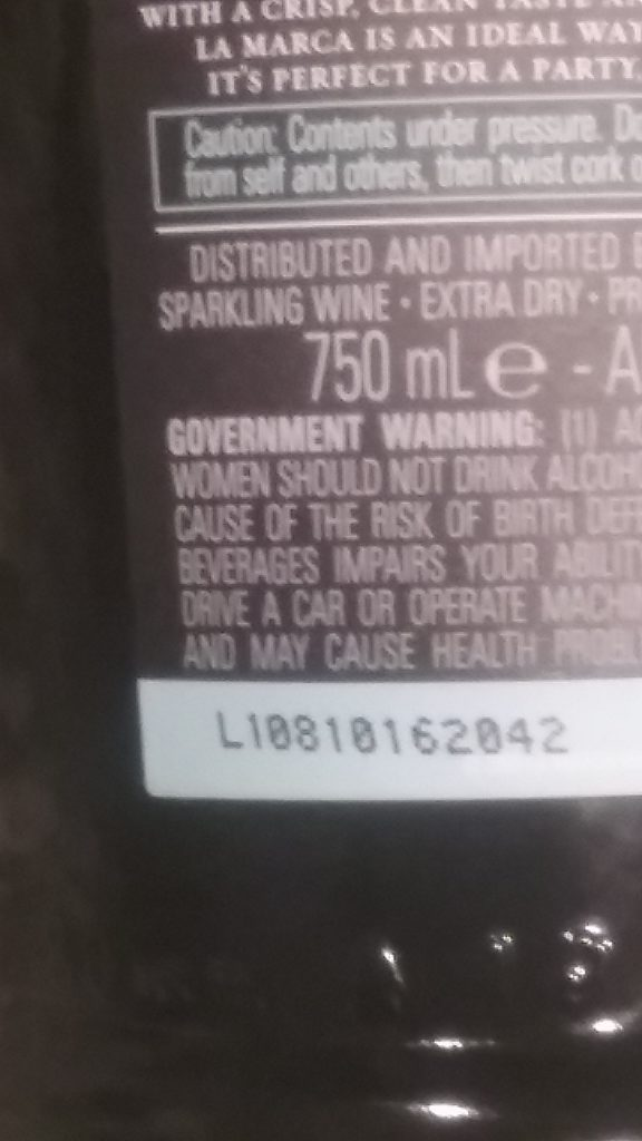 Lot number on a Prosecco label, photo by Bernard Kenner