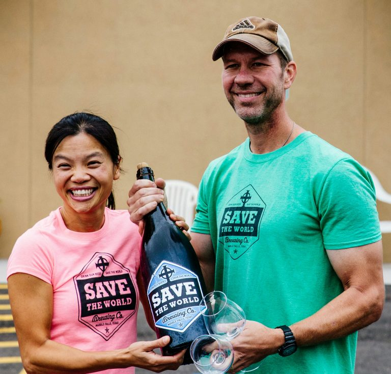Dave and Quynh Rathkamp, husband-wife owners of Save the World Brewing