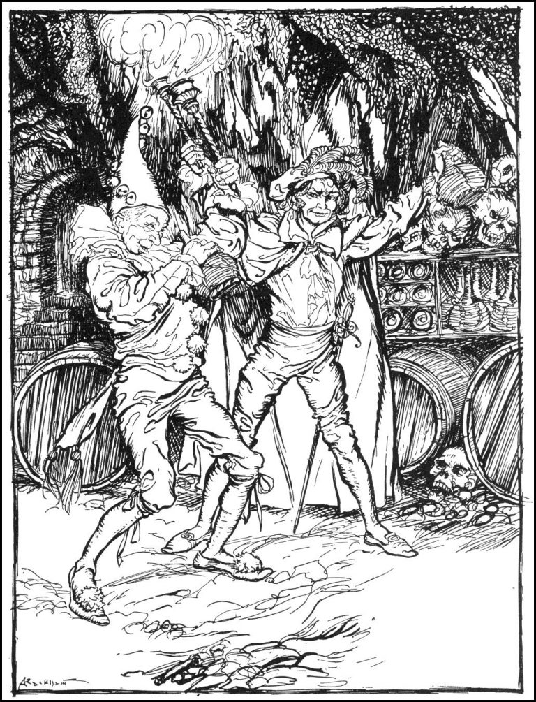 Fortunato and Montressor drink in the Amontillado catacombs. 1935 Illustration by Arthur Rackham