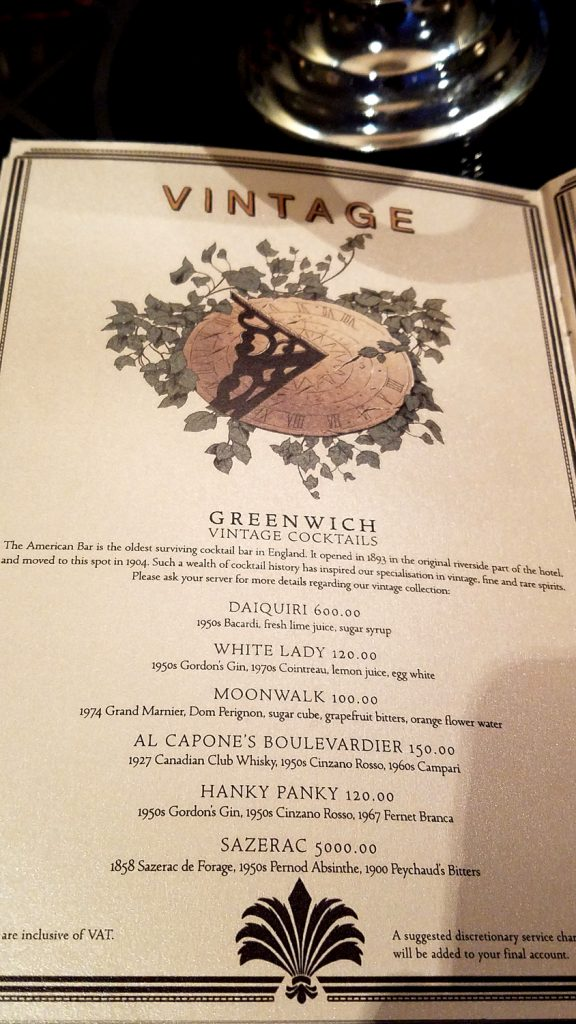 a recent menu at the American Bar, photo by Keith Allison