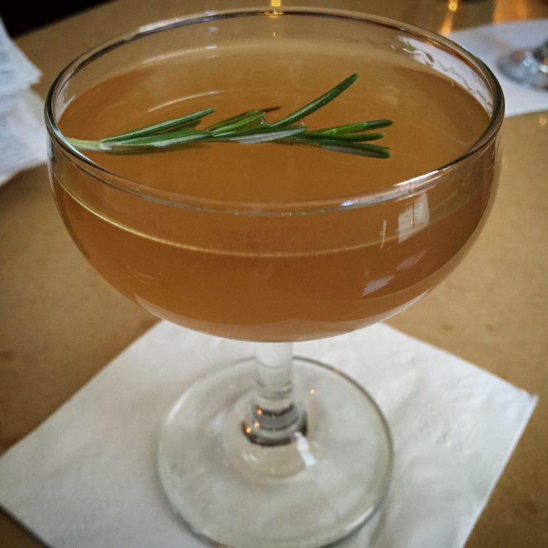 Cocktail made with kosher bourbon, apple brandy and lemon, photo Amanda Schuster