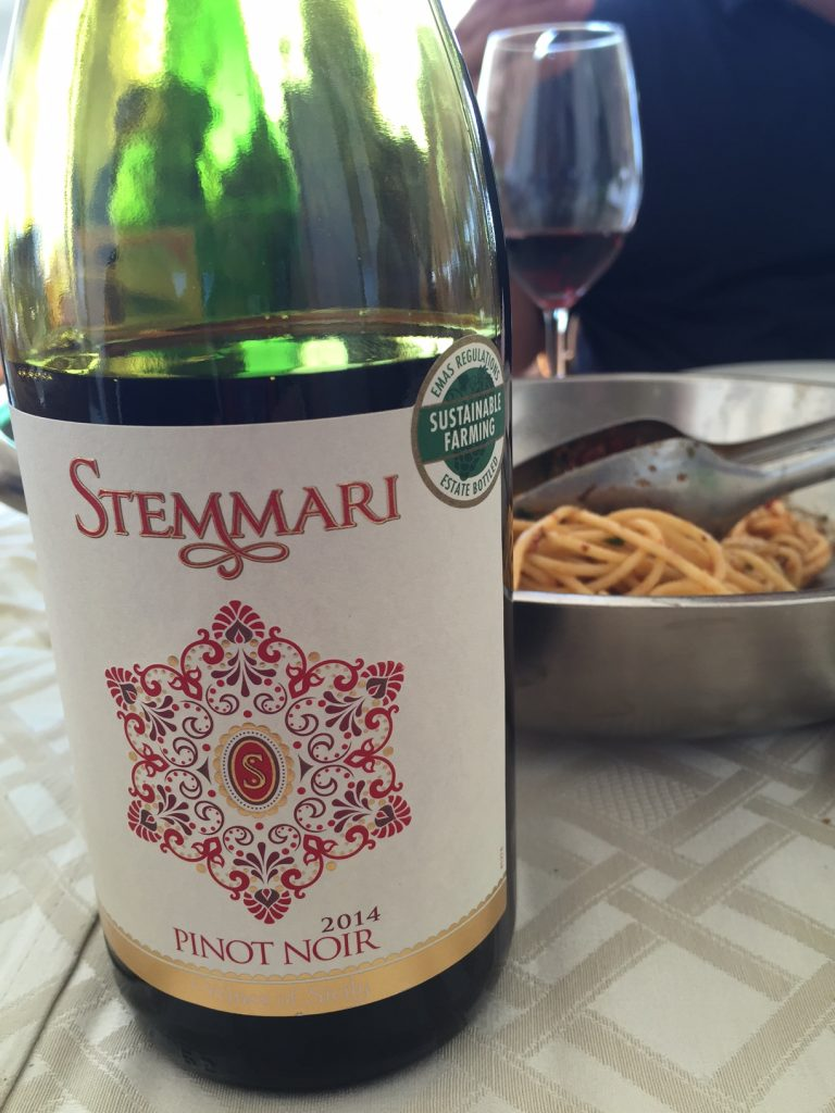 Stemmari Pinot Noir 2014 and pasta with sea urchin sauce - a highly recommended pairing!