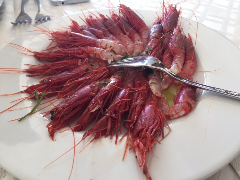 The famous red shrimp of Sicily at Da Vittorio restaurant in Menfi.