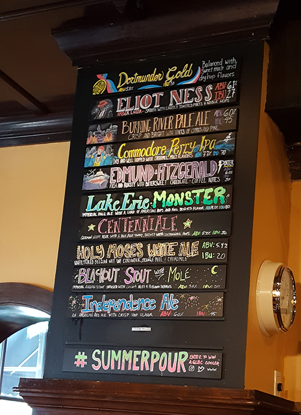 Offerings at Great Lakes Brewing Company