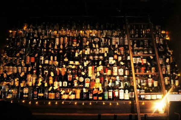 the impressive whiskey selection at the Baxter Inn