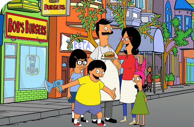Bob Belcher and the fam outside Bob's Burgers