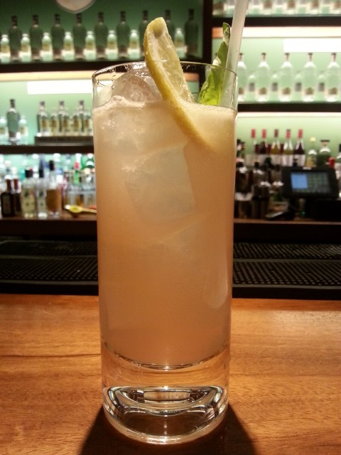 Rhubarb Sour made with Franklin & Sons Cloudy Apple & Yorkshire Rhubarb with Cinnamon' soft drink and COLD London Dry Gin, photo by Robin Goldsmith