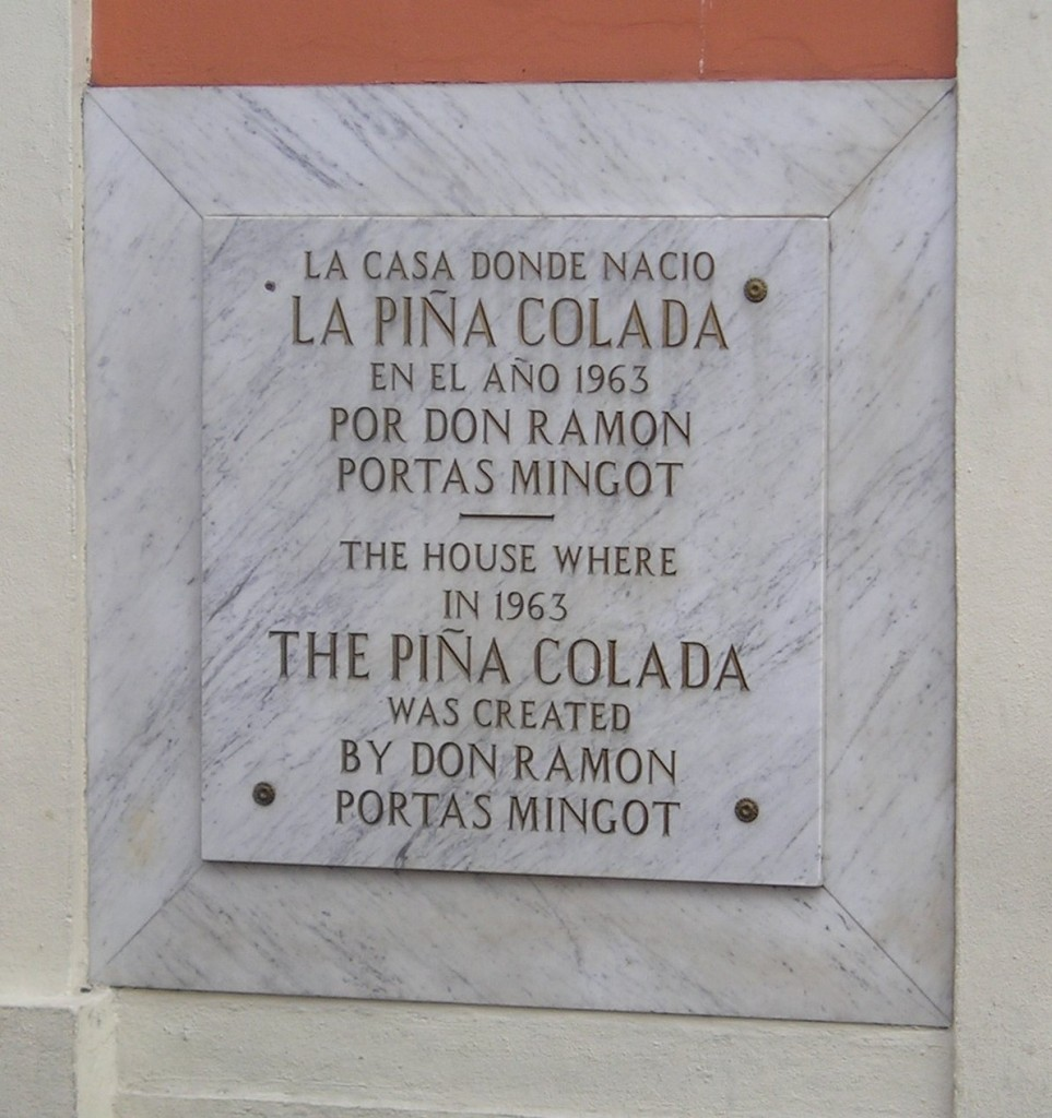 Piña Colada plaque in Old San Juan, photo by  by Allesandro Cai