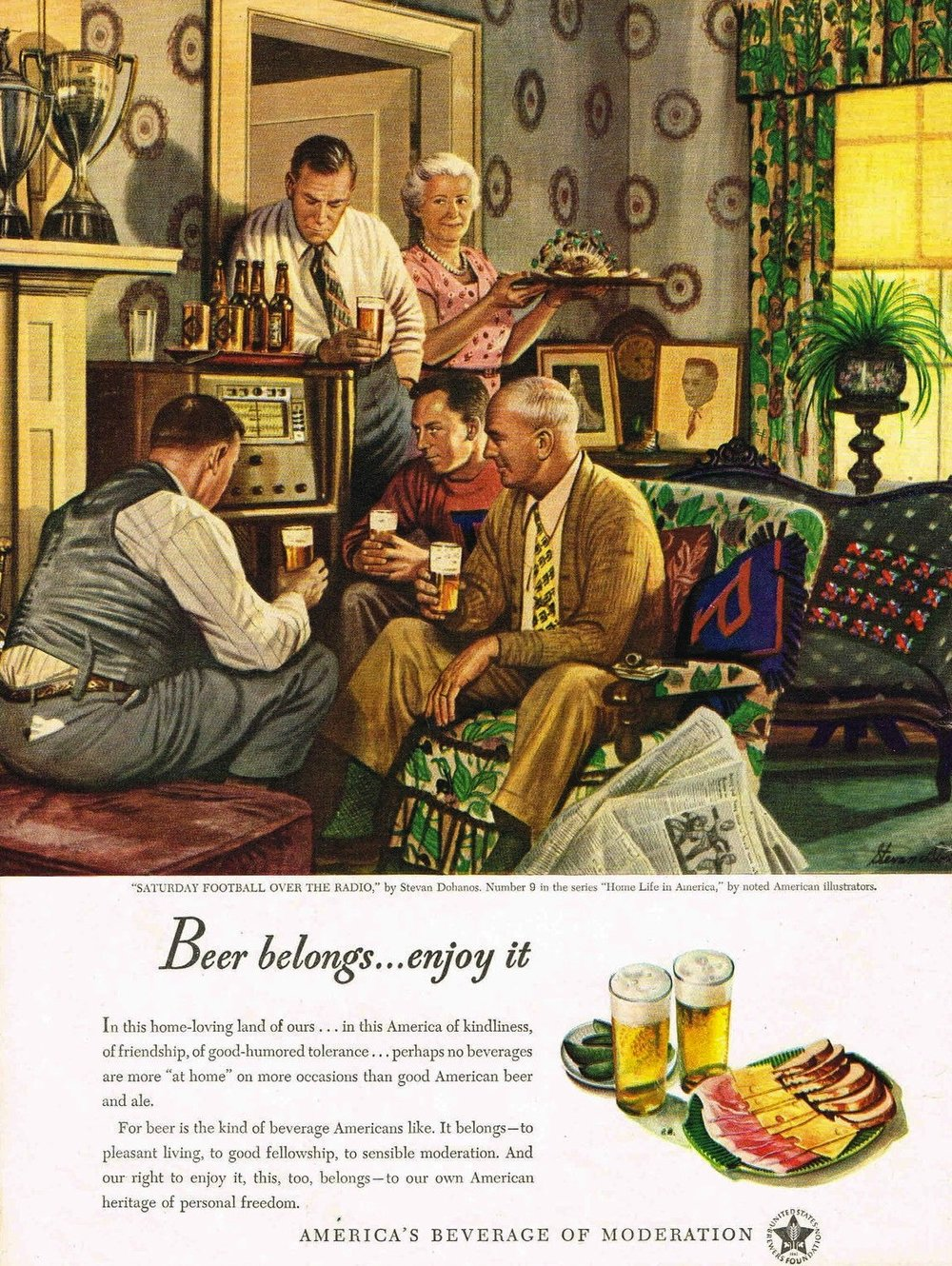 "A United States Brewers Foundation ad from 1947 uses football to promote ""America's Beverage Of Moderation"""
