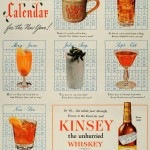 "A ""New Year Cocktail Calendar"" Kinsey Whiskey ad from 1945/1946"
