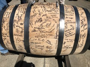 7,000,00th barrel at Buffalo Trace (my signature lower middle right), photo by Amanda Schuster