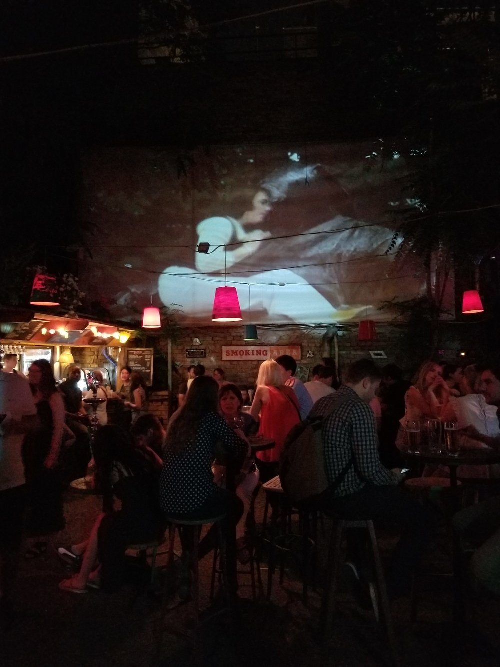 film projection at Szimpla Kert