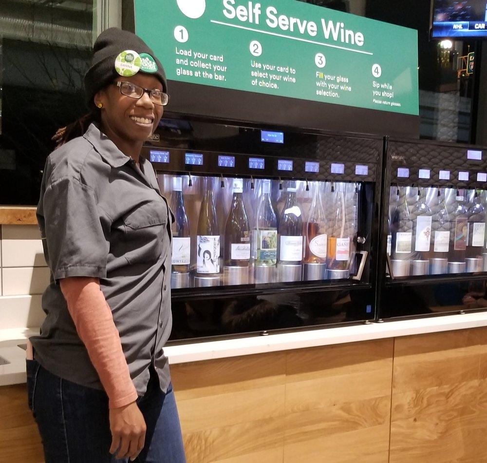 Bartender Sarina Roye at SoCap Wine Bar inside Whole Foods in DC.