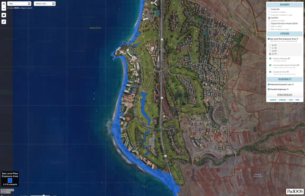 This Hawaii Sea Level Rise Viewer map depicts projections for future hazard exposure due to rising sea levels in the Ka  'anapali, Maui area.