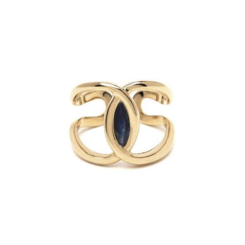 Venus Ring 18k With Blue Sapphire Saint Ann Jewelry