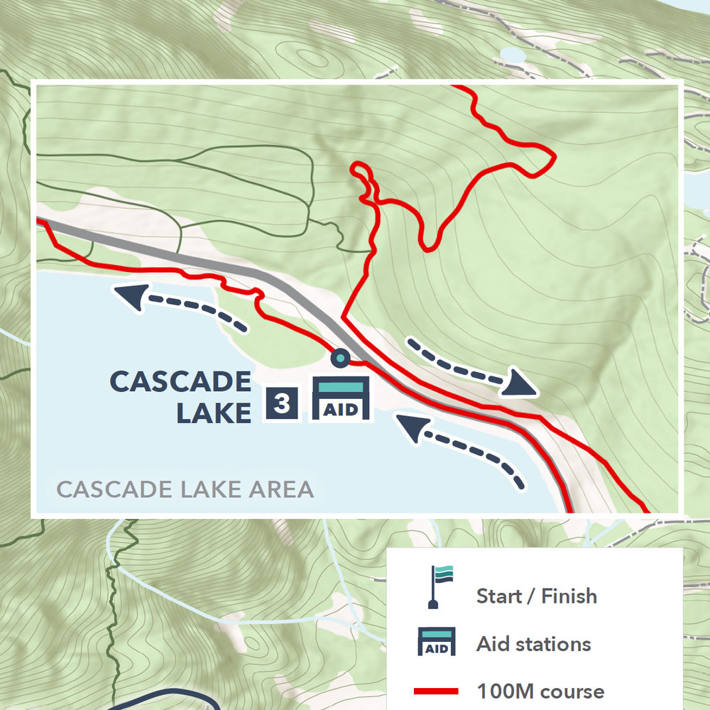Detail of the Cascade Lake area for Rainshadow Running's Orcas Island 100.