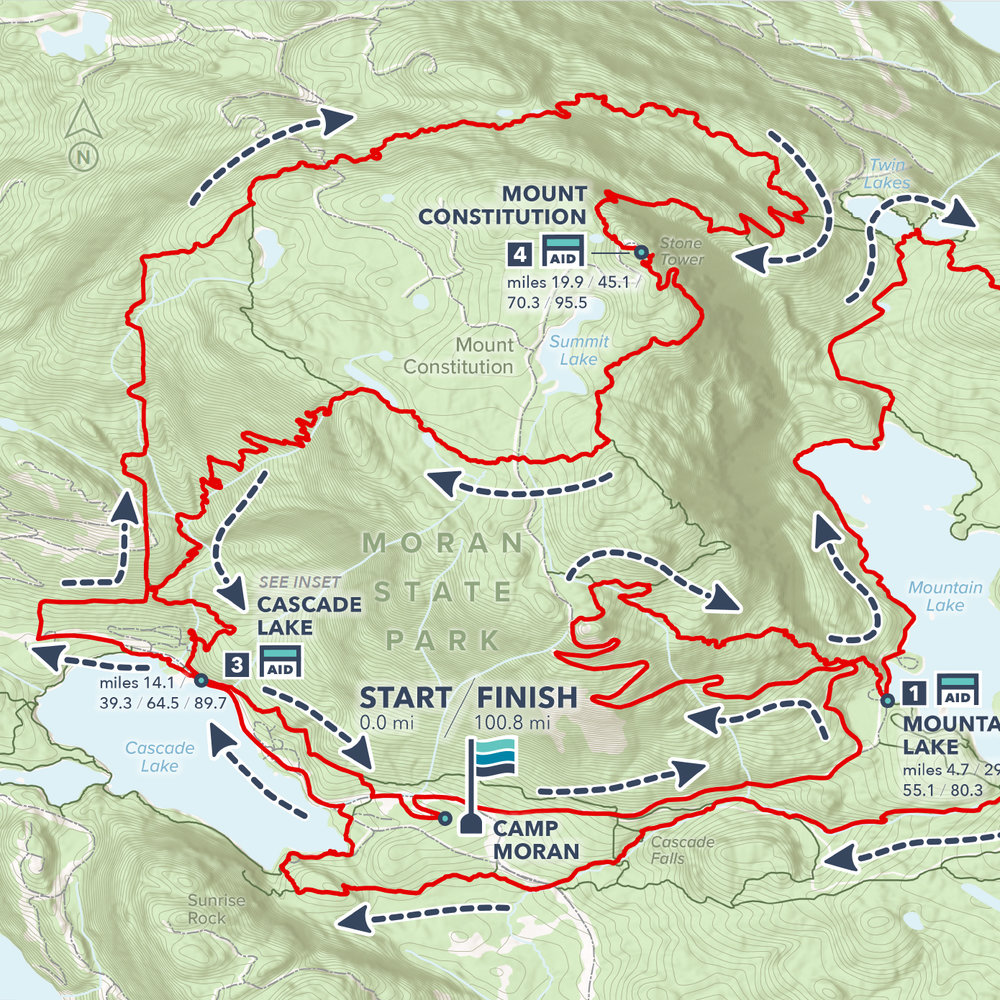 Detail of Rainshadow Running's Orcas Island 100 course.