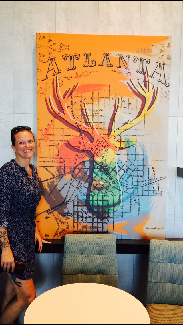 Hampton Inn - Buckhead, Atlanta - This piece is 4'x5.5' in the breakfast area of the hotel. We made a quick trip up to ATL last weekend and while the hotel is still under renovation - the art was up! Lucky me!