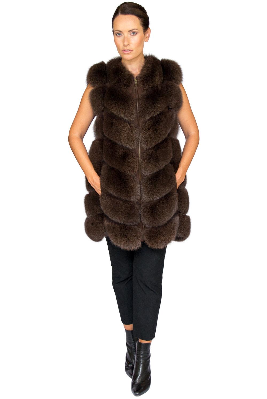 Noura Fox Fur Gilet Midi - Front- Zipped Up.jpg