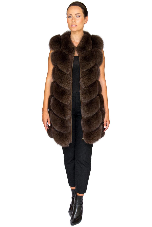 Noura Fox Fur Gilet Midi - Front.jpg