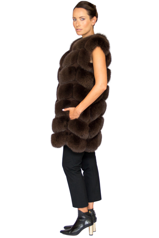 Noura Fox Fur Gilet Midi - Side.jpg