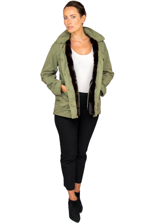 Laila Army Jacket w Mink Interior- Front.jpg