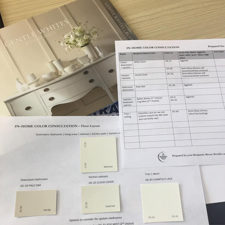 This is the color report I completed for my client looking to use whites and off-whites in her home.
